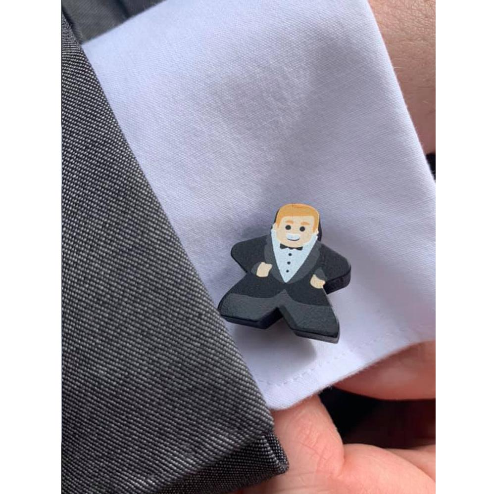 Blonde Groom Meeple Cufflink (Single Cufflink)